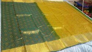 Indian-Kanchipuram-Soft-Silk-Saree-KAN-001-Green-amp-Gold-Sari-Bollywood