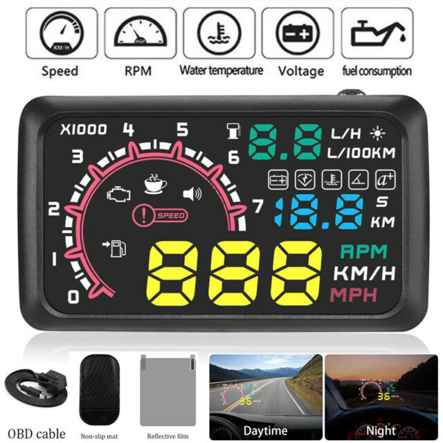 Car Electronics A100 Car Hud Head Up Display Obd2 Ii Euobd Overspeed Warning System Projector Windshield Auto Electronic Voltage Alarm Compute
