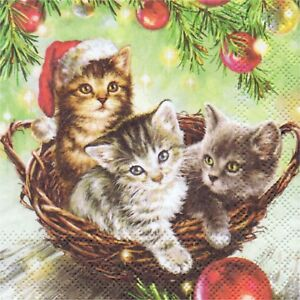 3 PAPER NAPKINS CHRISTMAS CAT KITTEN 3 SERVIETTES EN PAPIER CHAT CHATON DE NOEL