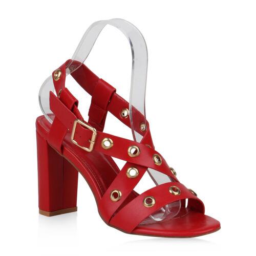 Damen Sandaletten High Heels Party Schuhe Riemchensandaletten 820384 Trendy