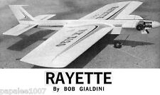 "Model Airplane Plans (UC): RAYETTE 55""ws Stunt for .29-.45 by Bob Gialdini"