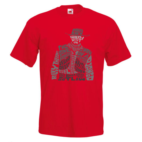 Cowboy Text Mens PRINTED T-SHIRT Text Billy The Kid Man Mystery Western Ranger