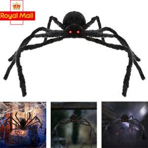 49zoll 125cm Riesen Spinne Mit Schwarzem Plusch Roten Augen Halloween Deko Ebay