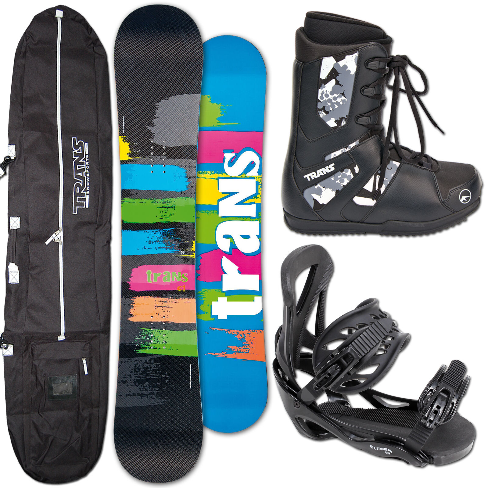Trans Snowboard C1 Carbone 151 cm + Elfgen Team Fixation L + bottes + Bag