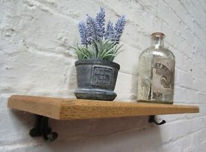 SOLID-OAK-WOOD-HANDMADE-SHELVES-rustic-wooden-Shelf-cast-iron-shelf-brackets