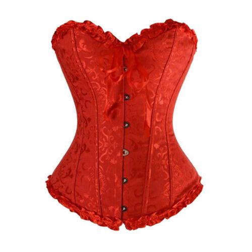 UK Bustier Corset Top Burlesque Basque Moulin Cosplay Fancy Dress Boned Shaper
