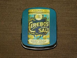 "VINTAGE KITCHEN FOOD 2 1/4"" HIGH CEREBOS TABLE SALT TIN CAN *EMPTY*"