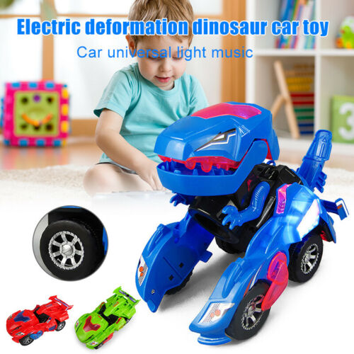 LED Deformation Dinosaur Car Toys Kids Game Playing Toys Vehicles with Light