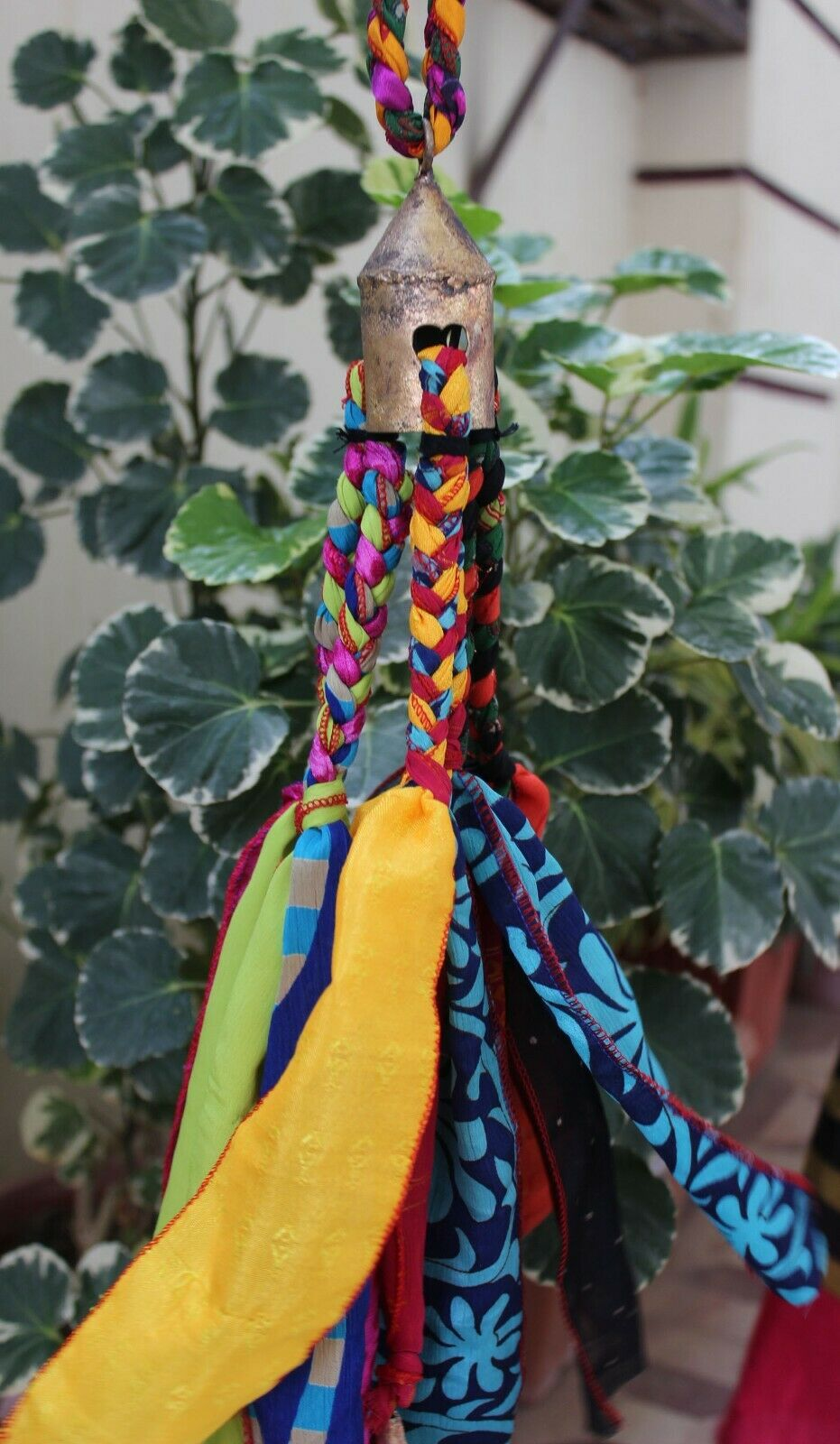 Recycled Silk Sari with Bells Hanging Wind chime Garden Patio Wedding Decoration