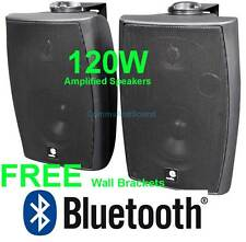 PAIR 60W ACTIVE WALL MOUNT SPEAKERS BLACK + BLUETOOTH  AND AUX INPUTS 03-P602YBA