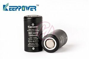 Keeppower-IMR18350-1200-mAh-Li-ion-10A-Rechargeable-18350-High-Drain-Battery-x2