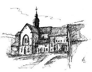 """Finelinerzeichnung """"Kloster Eberbach im Rheingau"""""""