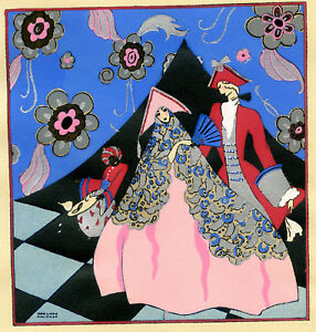 1930s-French-Pochoir-Print-Edouard-Halouze-Art-Deco-Princess-Pink-Dress-Count