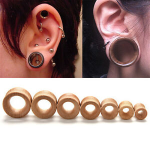 Organic-Wood-Double-Flared-Ear-Plugs-Tunnels-Expander-Stretcher-GaugePY