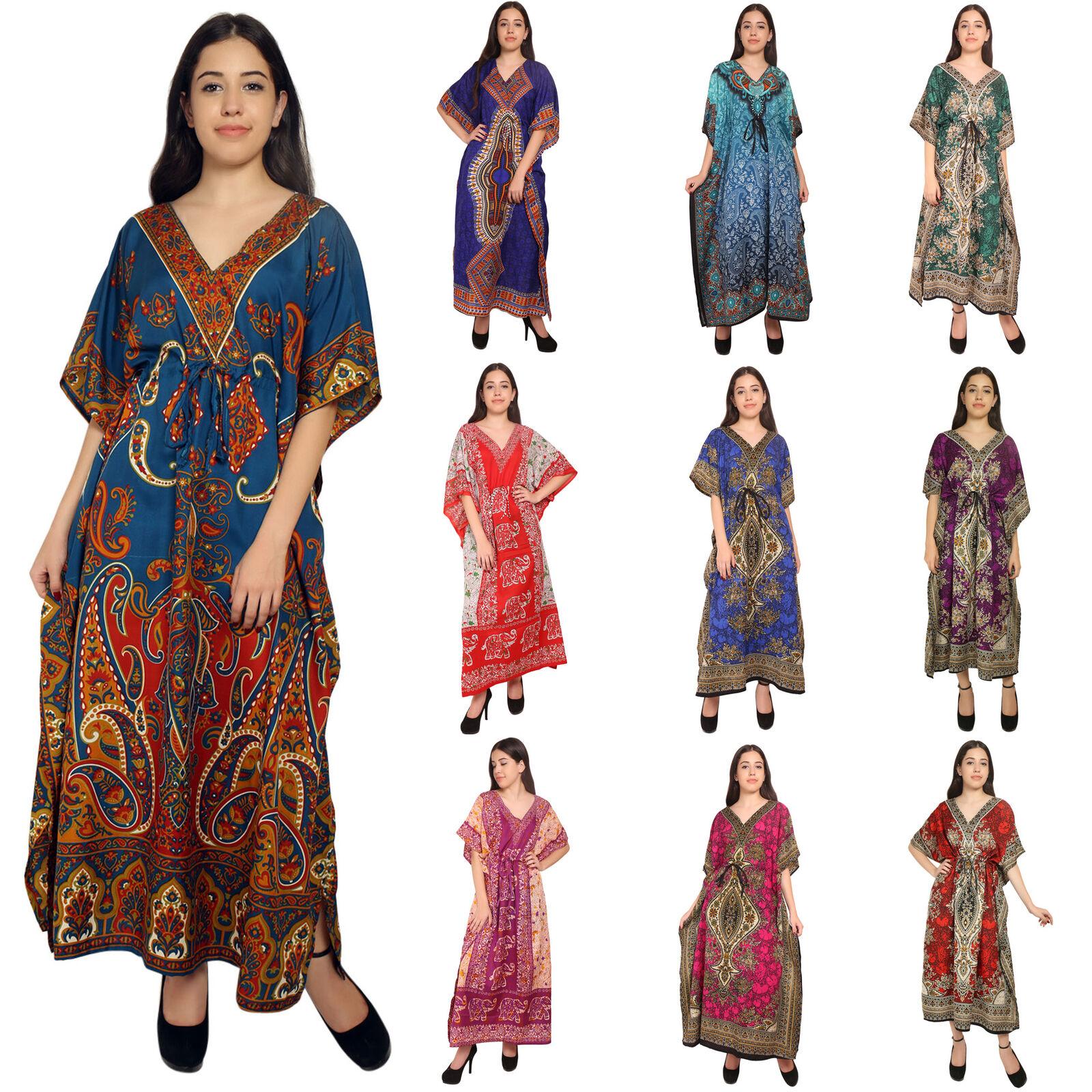 Lot Of 10 Long Kaftan Nightwear Night Dress Caftan Bohomean Sundress Womens