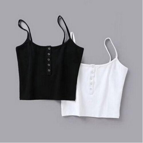 Basic Casual Camisole Crop Donna Camicia Cami Top senza maniche Button Front 8c zqOvxHq