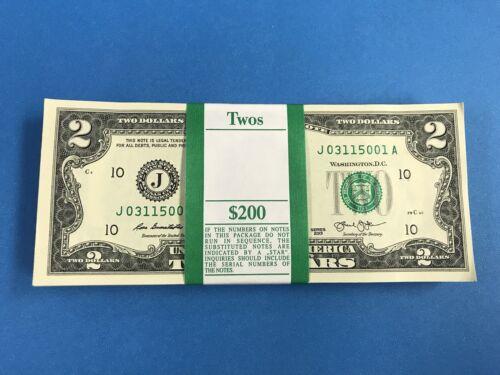 100 New Uncirculated $2 Dollar Bill 2013 Collectible Crisp Brand new