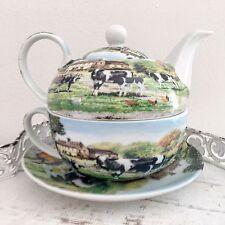 Granja de té vintage para un conjunto de taza de té tetera Fine China vacas Regalo Cocina