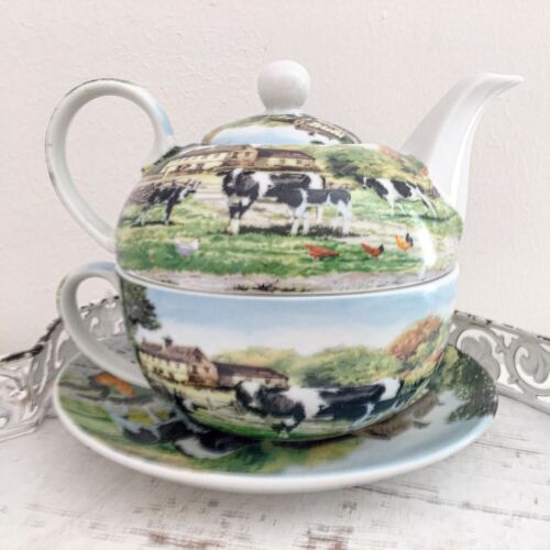 Vintage Farmhouse Tea For One Set Teapot Tea Cup Fine China Cows Gift  Kitchen