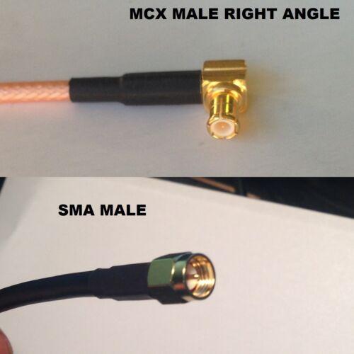 RG316 MCX MALE ANGLE to SMA MALE Coaxial RF Cable USA-US