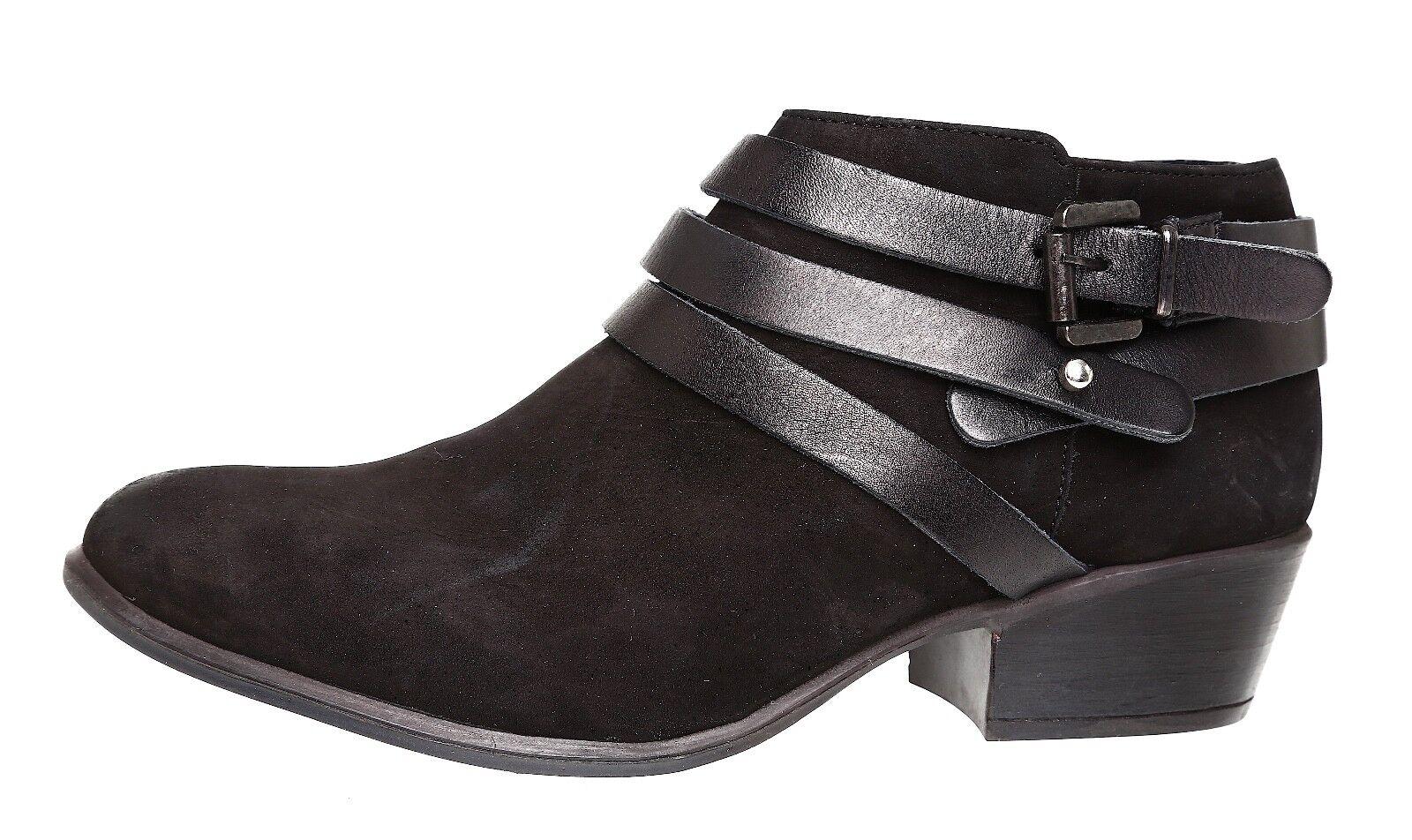 Steve Madden Regennt Leather Bootie Black Women Sz 9 M 4064