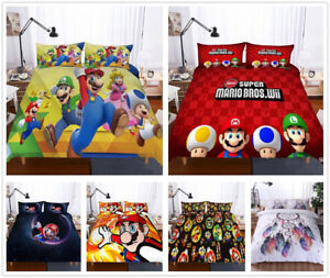 3d Super Mario Brothers Bedding Set Quilt Cover Pillowcase Doona