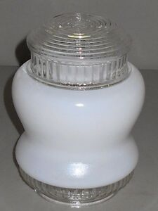 Ceiling Light Shade Vintage Small Hour Glass White Milk Glass Art Deco Kitchen