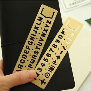 Number letter Pattern Hollow Ruler Drawing Template Brass Stationery Kids Gift