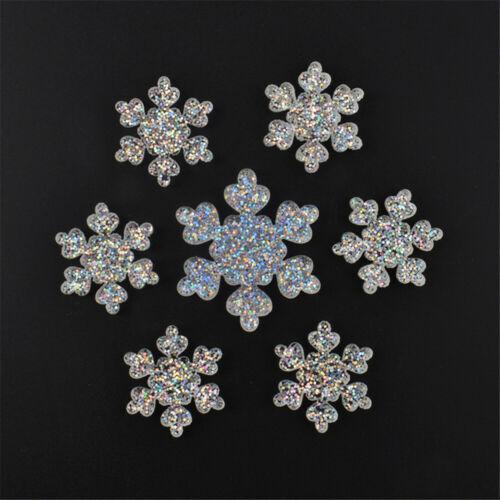 10 pcs Resin Cabochons Flatbacks Snowflake Shaped Craft Glitter Decor 16//26mm