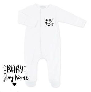 Personalised Baby Grow//Sleepsuit ANY NAMES//SLOGAN Gift