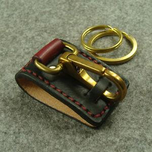 Genuine-Leather-Belt-Clip-Keychains-Key-Ring-Holder-With-Brass-Snap-Hook-Keyring