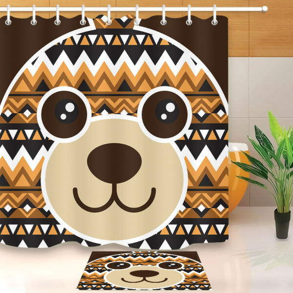 Lovely Fat Dog Greeting Bathroom Decor Waterproof Fabric Shower Curtain Hook 72