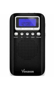 Digital-AM-FM-Portable-Pocket-Radio-With-Alarm-Clock-Vondior-New-In-Box