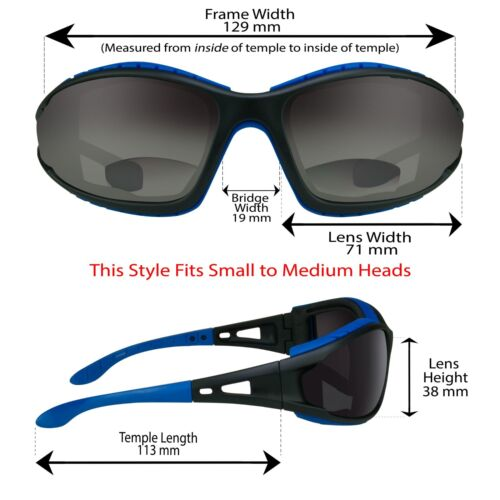 BIFOCAL Wrap MOTORCYCLE Sunglasses Sun Reader Foam Padded 1.0 1.5 2.0 2.5 3 3.5