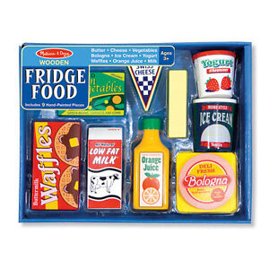 Melissa-and-Doug-Wooden-Fridge-Food-Set-NEW-role-play-chef-milk-butter-juice