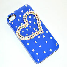 COVER custodia iPhone 4 case cristalli perle elegante cuore strass brillantini 5