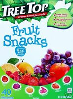 40 Pouches Tree Top Fruit Snacks Apple Grape Orange Cherry Strawberry Real Juice