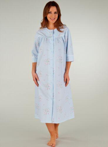 Slenderella Womens Premium Quality Seersucker 3//4 Sleeve Popper Fasten Housecoat