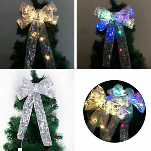 LED-Weihnachtsbaum-Schleifen-Ornament-Haengend-Bowknot-Christmas-Tree-Decor