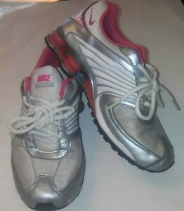 new style 44c99 08f0f Details about Nike Shox Turbo 8 White/Pink/Silver Running Shoes Girls Sz 6Y  Pre Owned