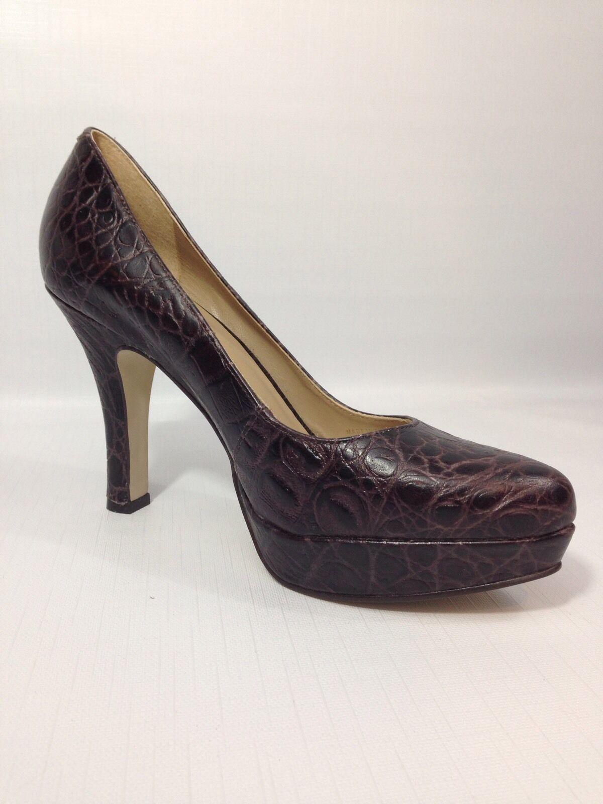 Women's Talbots Brown Croc Embossed Leather Platform Heel Pumps - 5 1 2 B NICE