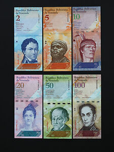 WORLD-VENEZUELA-BANKNOTES-COMPLETE-SET-OF-6-BRILLIANT-NOTES-BEST-UNC
