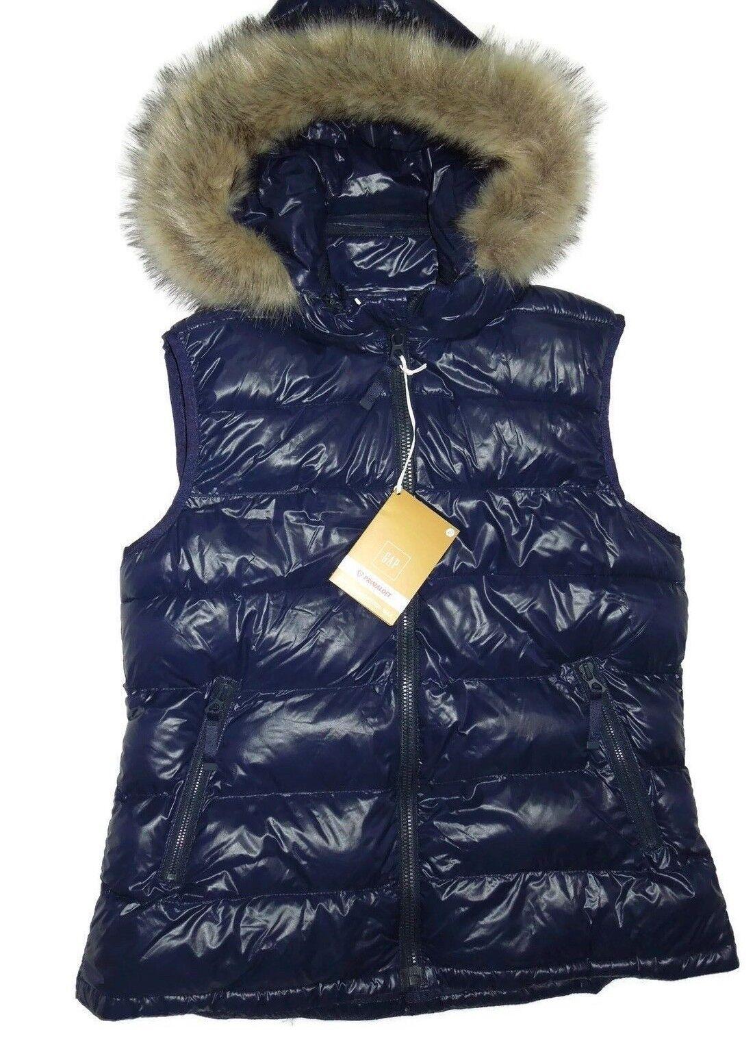 GAP women's Primaloft removable hood Navy winter Vest size Large