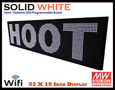 52x15 Inch White Wifi Semi Outdoor Indoor Led Scrolling Sign Super Fast Ship
