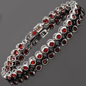 Fashion-Round-Cut-Red-Ruby-Tennis-Cubic-Zirconia-18K-Gold-Plated-Tennis-Bracelet