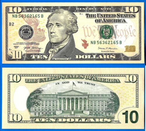 USA 10 Dollars 2017 UNC Mint New York B2 NB Suffix B US United States Hamilton