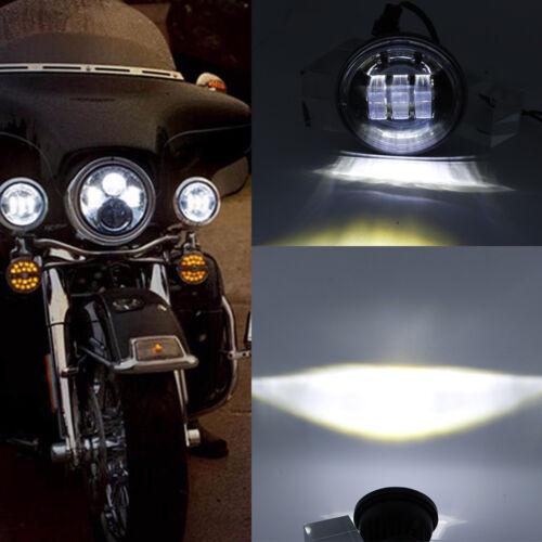 "7/"" LED Headlight For Harley Softail Road King 4-1//2/"" Spot Lamps Street Glide"