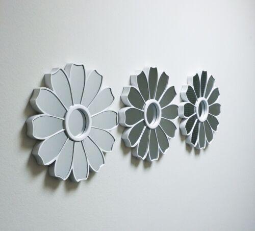 Nouveau Blanc Antique Miroir Rond Mural Fleur Maison Décoration Murale Art Deco