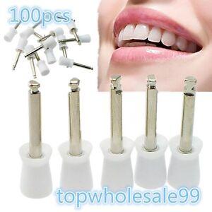 Dental Polishing Polish Prophy Cup Brush 4 Webbed White Color Latch Type 100Pcs