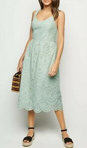 New-Look-Womens-Mint-Green-Broderie-Button-Front-Midi-Dress-Sizes-6-to-18